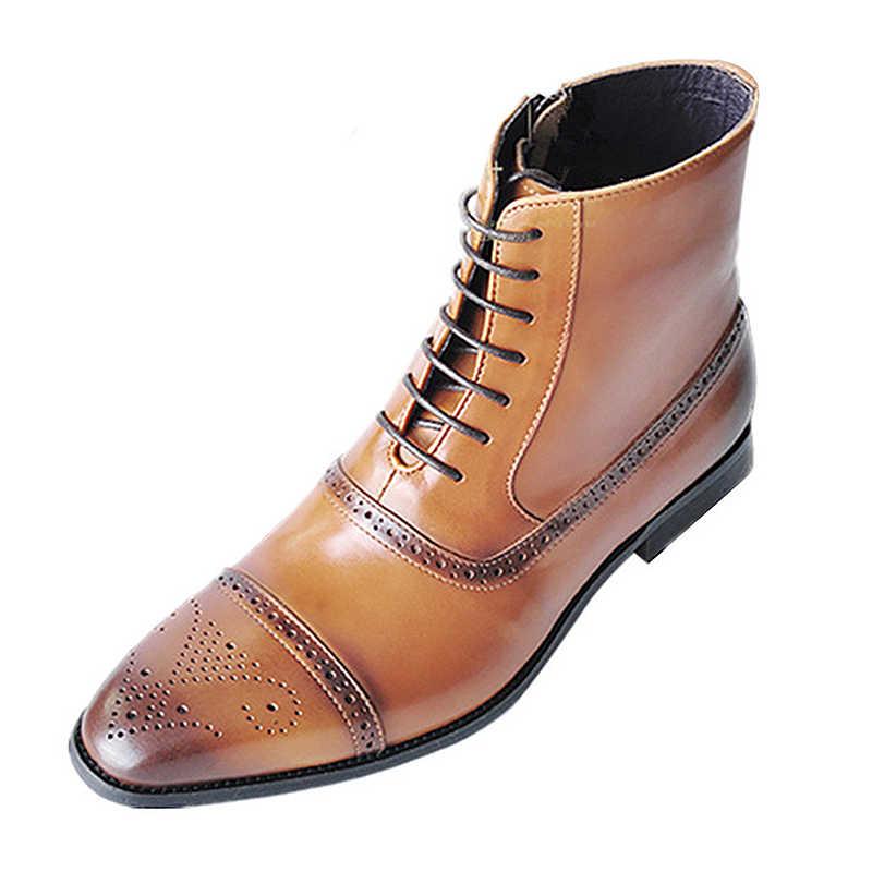 Mode PU Lederen Laarzen Mannen Grote Maat 45-47 Effen Non Slip Brogue Schoenen Man Rubber Rits Enkellaars mannen