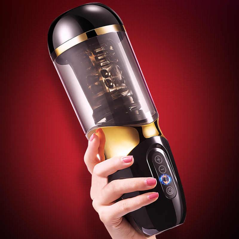 Masturbatore Maschile Rotazione Automatica Telescopica 10*10 Modalità di Silicone Della Vagina Reale Figa Masturbazione Coppa Giocattoli Del Sesso per Gli Uomini