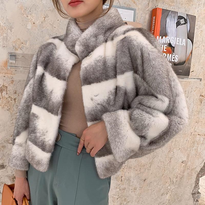 Natural Real Fur Coat Women Winter Real Mink Fur Coat Korean Double Faced Tops Women Clothes 2019 Warm Fur Top Jacket Hiver 4582