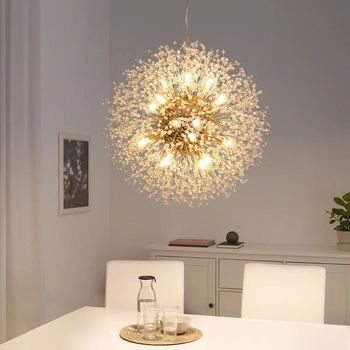 2020 новый современный с украшением в виде кристаллов, принт в виде одуванчиков, люстры висячие светильники лампы для Гостиная Обеденная укра