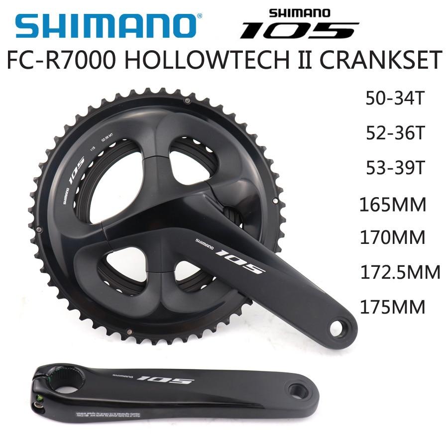 SHIMANO 105 FC R7000 HOLLOWTECH II CRANKSET 2x11S 50 34T 52 36T 53 39T 170MM 172.5MM 175MM Road Bike Chainwheel Optional BBR60