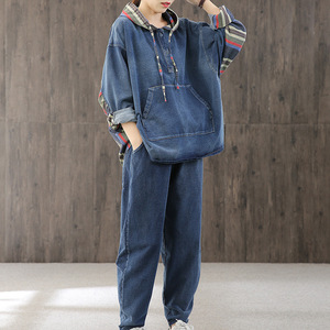 Jeans Clothing 2020 New Korean Style Womens Striped 2 Pieces Sets Crop Tops Denim Pants Suits Party Outfits Plus Size Streetwear