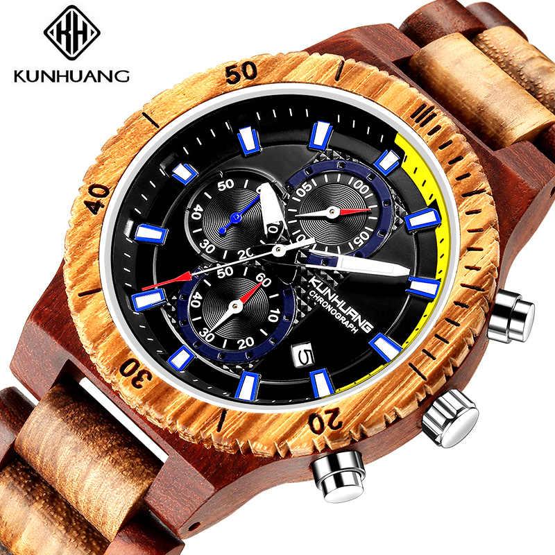 2020 nuevo reloj de madera para hombre, cronómetro hecho a mano, reloj Masculino de cuarzo con movimiento japonés, reloj de pulsera de regalo para hombre erkek kol saati