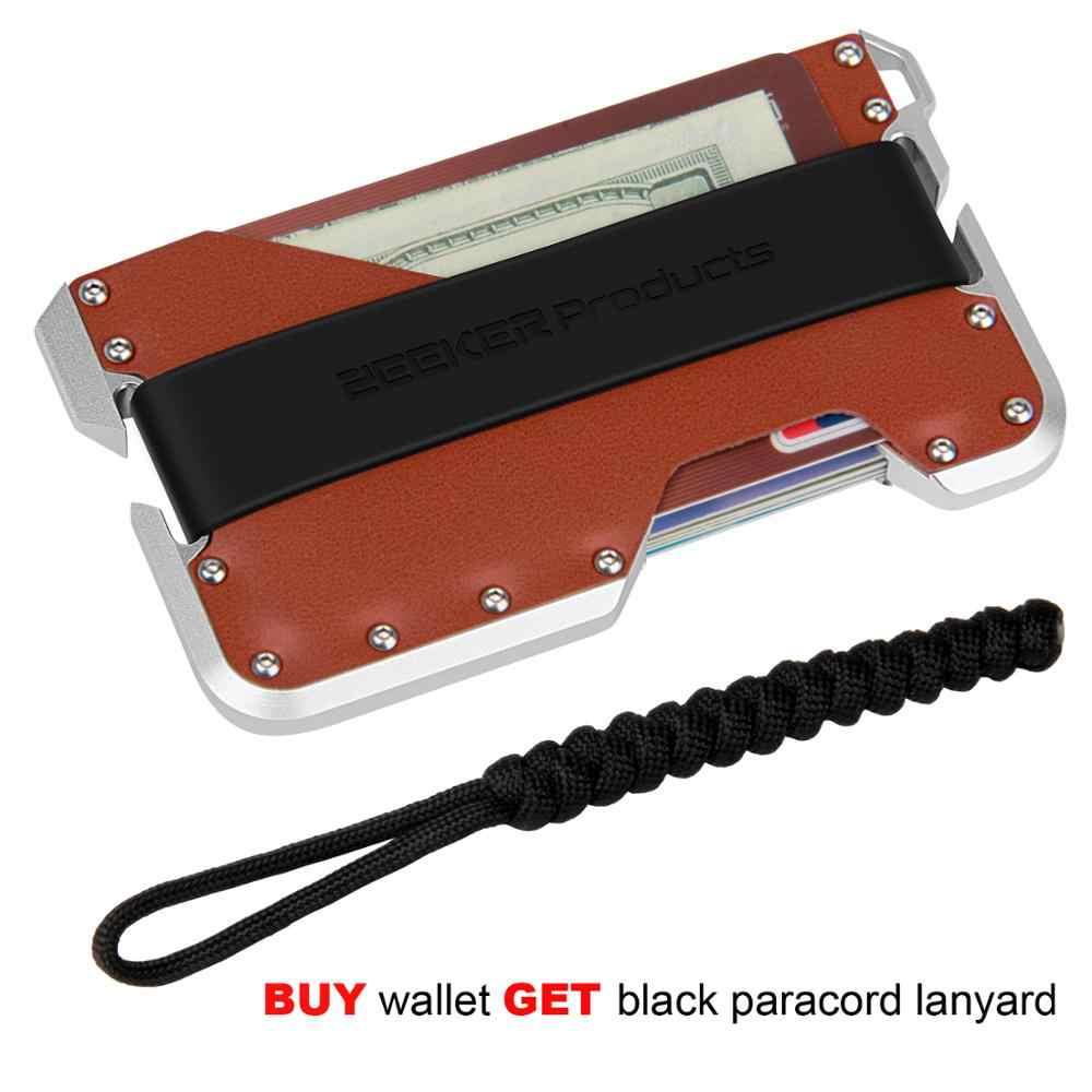 ZEEKER Neue Design Aluminium Metall RFID Blocking Kreditkarte Halter Echtes Leder Minimalistischen Karte Brieftasche Für Männer