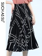 New Chiffon Pleated Women S Summer Skirts 2021 Black White Skirt Elastic High Waist Striped Single Code Mid Long Skirt Female