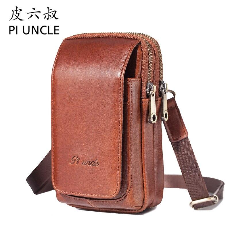 PI UNCLE Brand Genuine Leather 6' Cell Mobile Phone Pouch Case Men Waist Belt Cross Fanny Pack Men's Mini Shoulder Messenger Bag