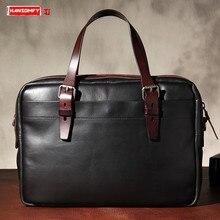 Новинка, мужская сумка, оригинальная, растительного дубления, кожаная сумка, портфель, Ретро стиль, кожаная, деловая, мужская, на плечо, диагональная, сумка для компьютера, сумки
