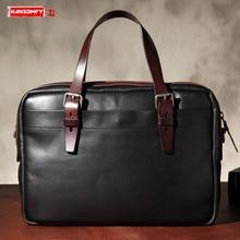 New Mens Bag Vegetable Tanned Leather Handbag Briefcase Retro Leather Business Men Shoulder Diagonal Bag Computer Bags Original