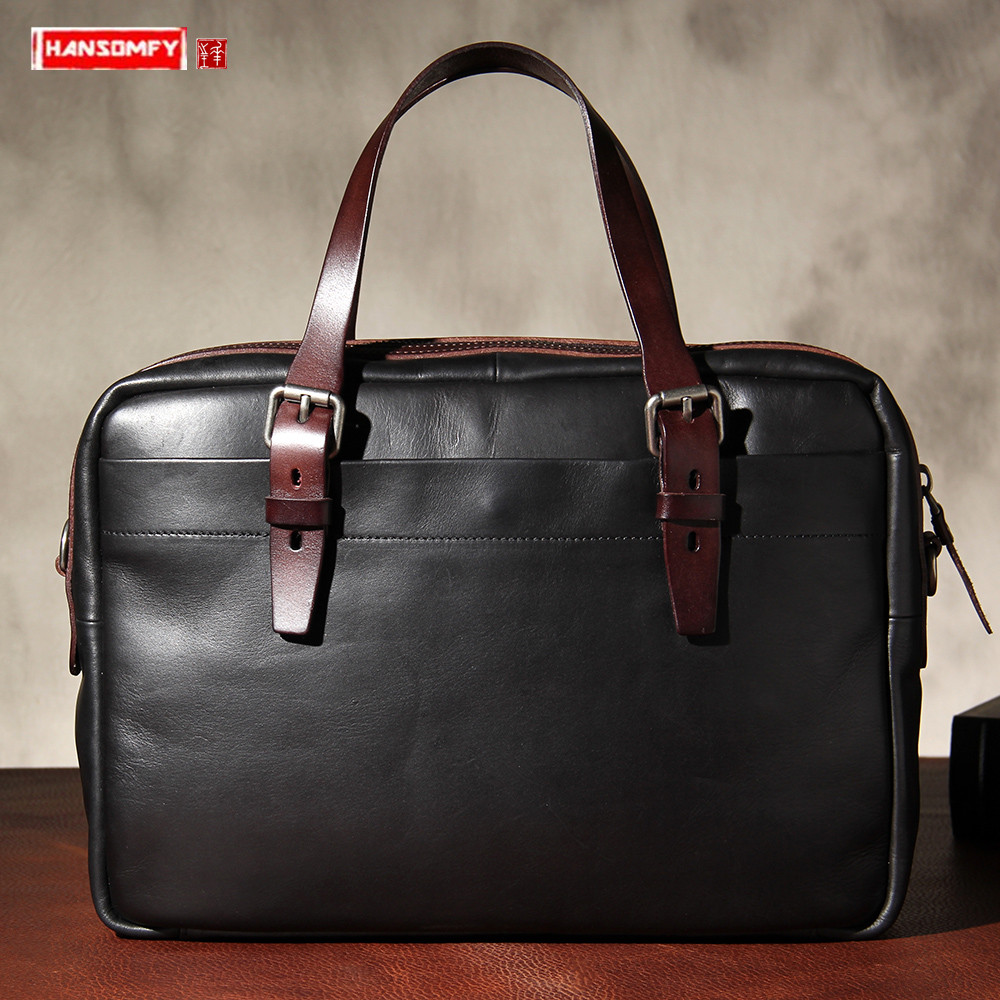 New Men's Bag Original Vegetable Tanned Leather Handbag Briefcase Retro Leather Business Men Shoulder Diagonal Bag Computer Bags