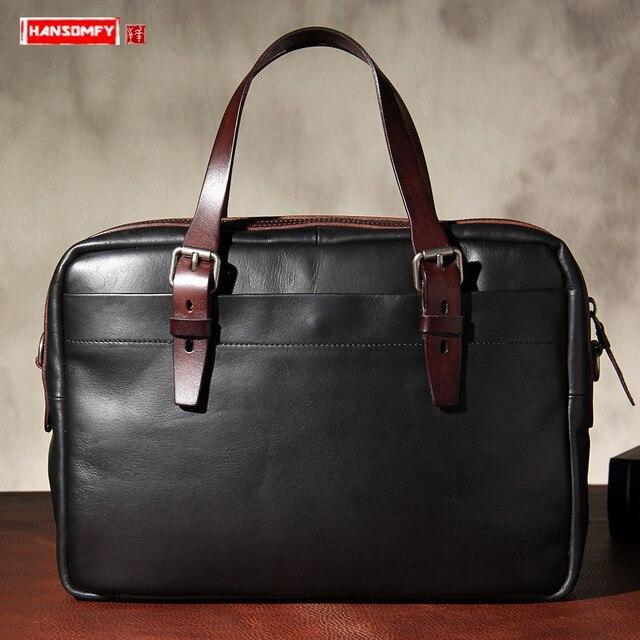 กระเป๋าผู้ชายใหม่ผักกระป๋องหนังกระเป๋าถือกระเป๋าเอกสาร Retro หนังผู้ชายธุรกิจไหล่กระเป๋าคอมพิวเตอร์กระเป๋าเดิม