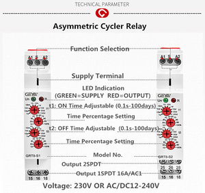 Image 5 - 送料無料 geya GRT8 S 非対称サイクルタイマーリレー spdt 220 v 16A ac/DC12V 240V 電子繰り返しリレー
