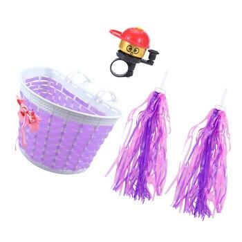4 Uds., manillar de bicicleta para niños, cesta tejida, conjunto de campana, serpentinas, manillar de bicicleta, suministros decorativos, accesorios de bicicleta para niños Chi