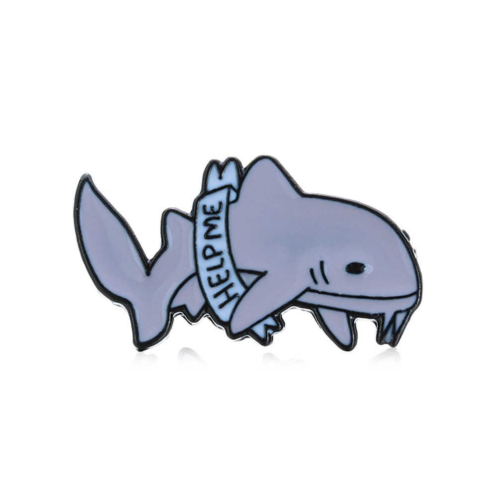 Aku Sangat Lelah Depresi Hiu Enamel Abu-abu Lucu Hewan Ikan Keras Enamel Bros Pin Ransel Denim Lencana anak-anak Hadiah