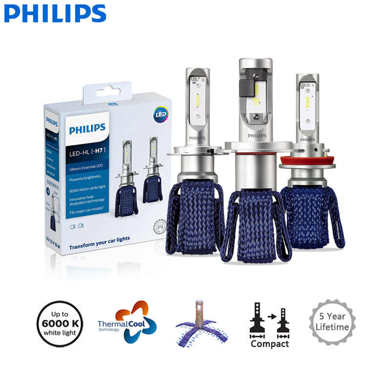 Philips Ultinon Essential LED H4 H7 H8 H11 H16 HB3 HB4 H1R2 9003 9005 9006 9012 12V UEX2 6000K Auto Headlight Fog Lamps (Twin)
