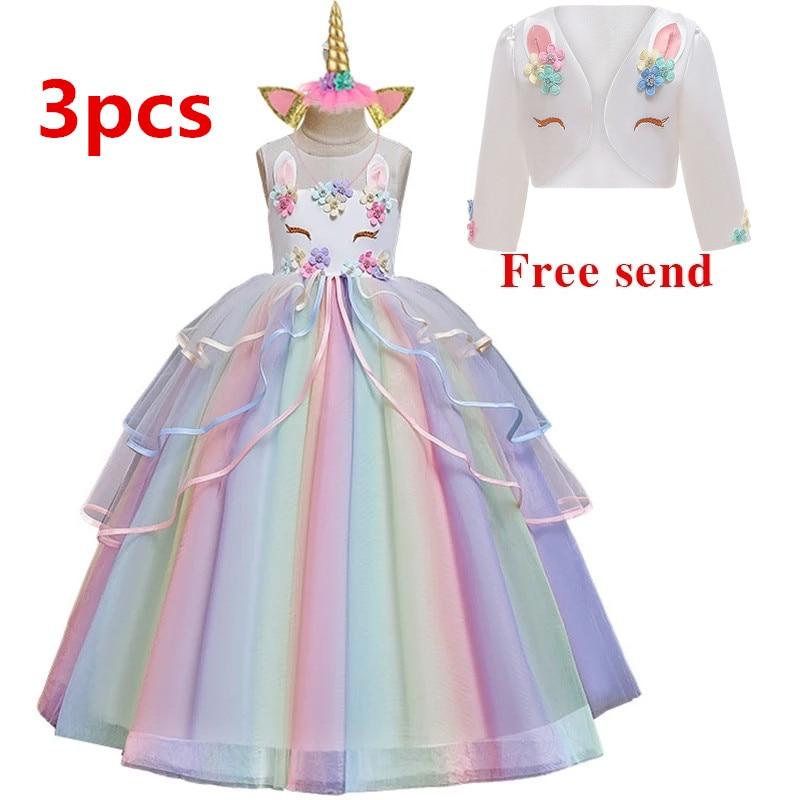 Flowers Toddler Girls Unicorn Elegant Princess Party Formal Tulle Tutu Dress US