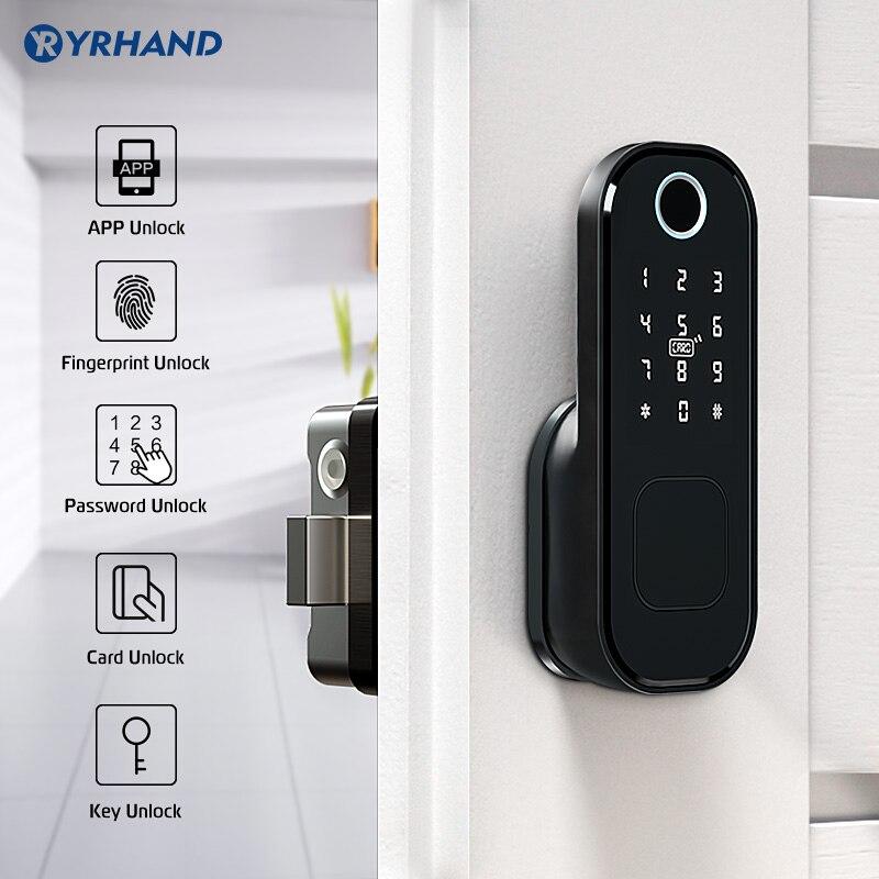 No Wiring Outdoor Fingerprint Rim Lock Smart Card Digital Code Electronic Door Lock For Home Security Mortise Lock Waterproof