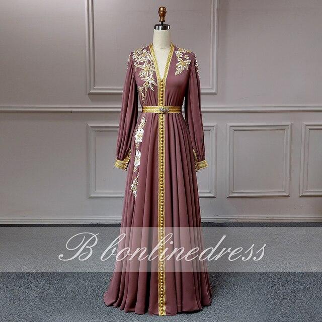 Bbonlinedress Moroccan Caftan Evening Dresses Embroidery Appliques Long Evening Dress Full Sleeve Arabic Muslim Party-Dress 1