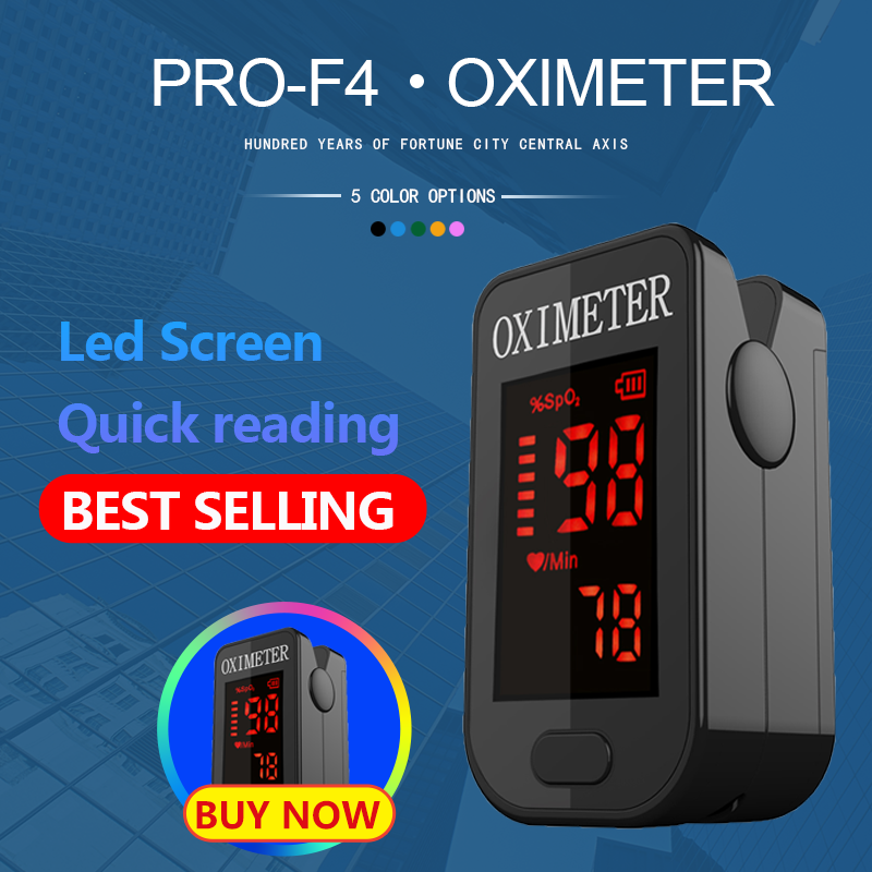 PRO-F4 Vinger Pulsoxymeter, heart Beat Op 1 Min Verzadiging Monitor Pulse Hartslag Bloed Zuurstof SPO2 Ce Goedkeuring-Zwart