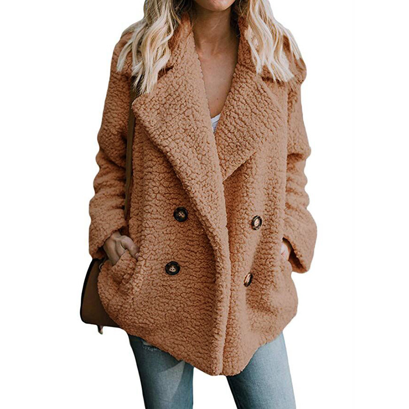 Ladies Turn Collar Long Sleeve Outerwear Warm Fur Jacket Plus Size Winter Faux Fur Coat Women Clothes Thick  Button Loose Coat
