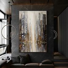 Peinture à l'huile abstraite faite à la main, vue d'automne, Art mural moderne marron pour la maison, peinture sur toile, grande décoration de Salon sans cadre
