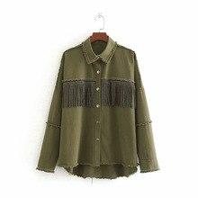 Для женщин Стильный свободный бисер для украшения джинсовая куртка с бахромой, в стиле пэчворк, длинные рукава жакет Женская верхняя одежда свободные топы
