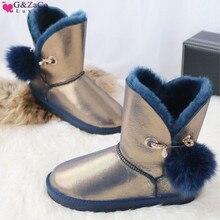 G&Zaco Genuine Sheepskin Boots Women leather Wool Snow australia Suede Mid-Calf Sweet Fox Fur Ball  winter Womens Boot