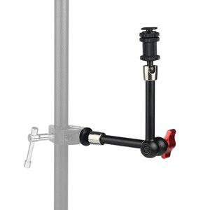 """Image 3 - 7 """"11"""" regulowane magiczne ramię do montażu monitora LED światło błyskające wideo aparat DSLR magiczne ramię przegubowe Super zacisk"""