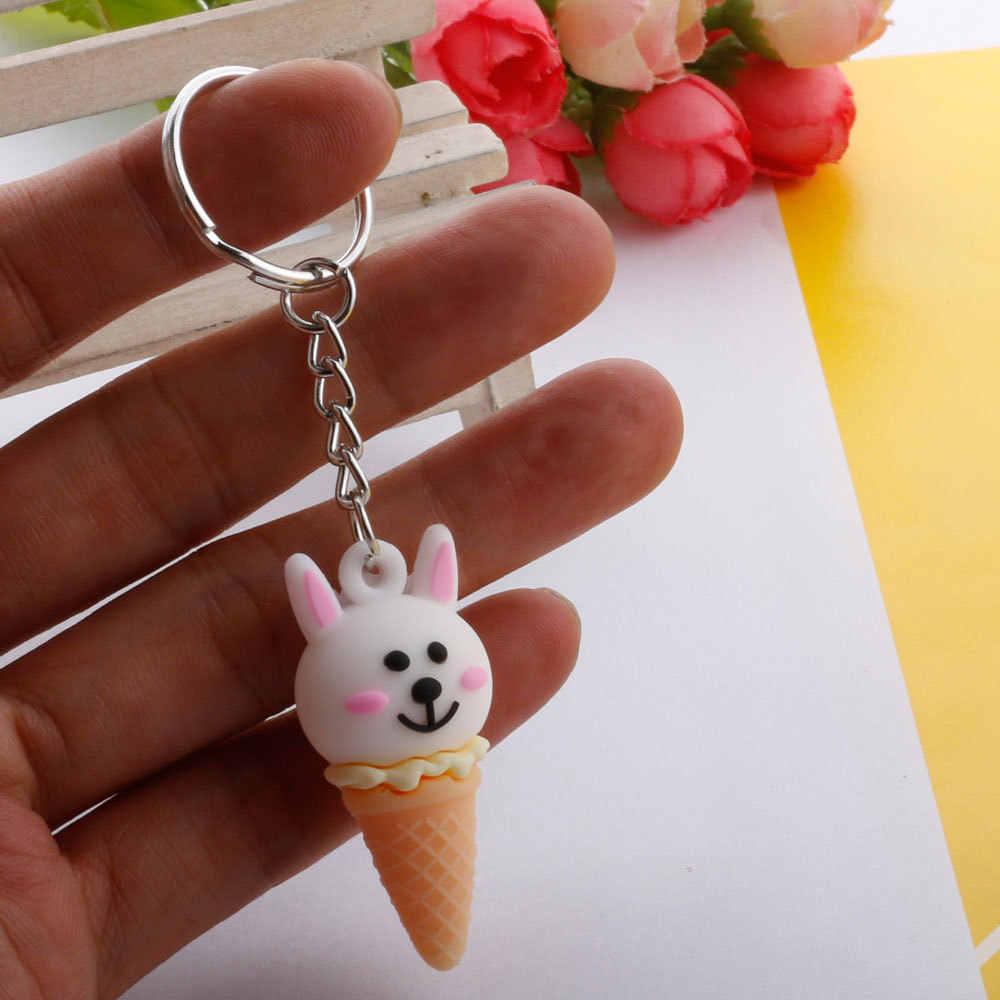 Creative קריקטורה בעלי החיים גלידת Keychain חמוד Unicorn קונוס מתוק תיק תליון מתנה