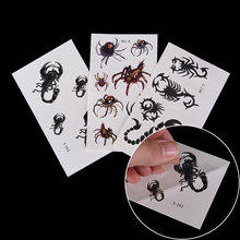 1 Sheet 3d Waterproof Small Neck Tattoos Black Spider Designs Temporary Tattoo Stickers Flash Temporary Fake Body Art Tatoo(China)