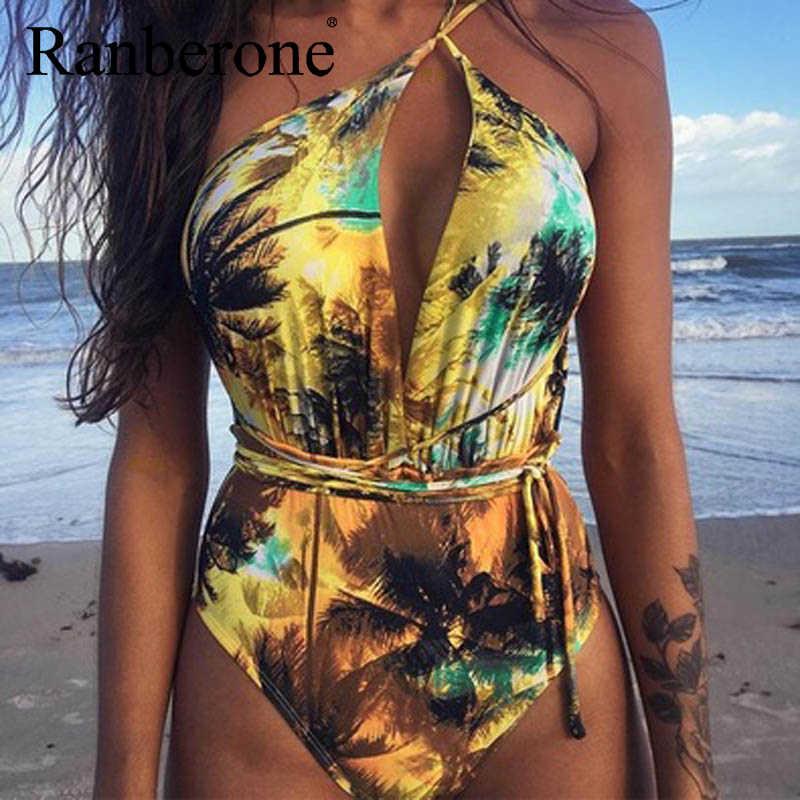 Nowe damskie seksowne Bikini jednoczęściowy nadruk strój kąpielowy w kwiaty Retro stringi wysokiej talii body Backless strój kąpielowy z wysokim stanem głębokie V garnitur