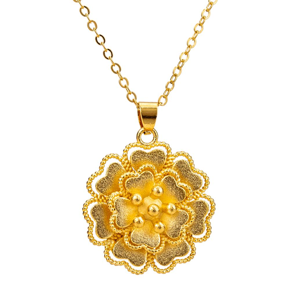 Gold Color 3D Layered Flower Pendant Necklace for Women Girls Link Chain Wedding Birthday Gifts