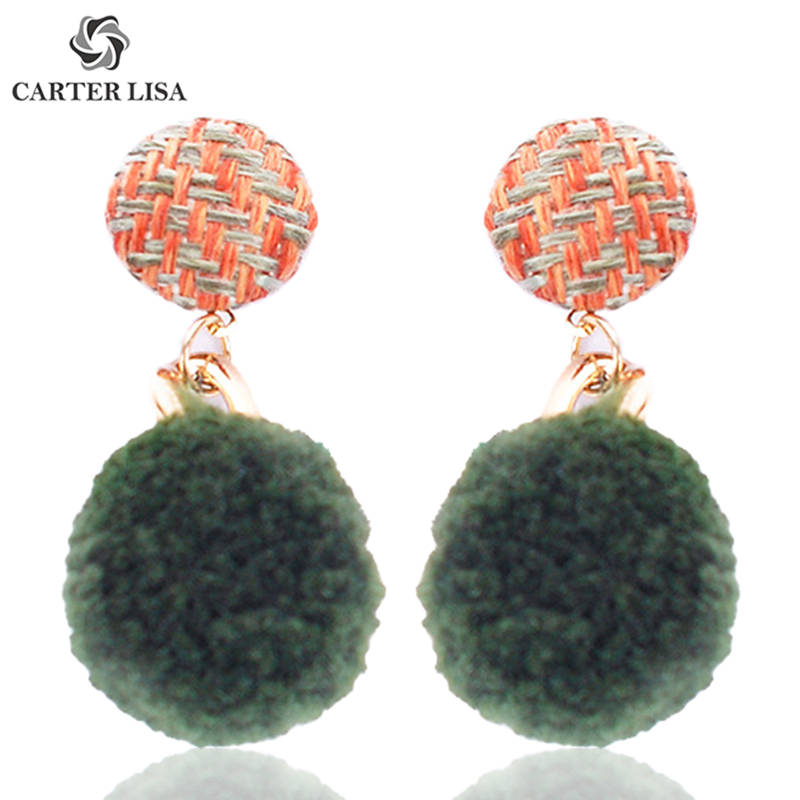 CARTER LISA Piercing Gold Plated Pompom Statement Drop Dangle Earrings For Women Girl Fashion 2019 Jewelry Findings Party Gifts