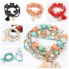 Fashion Multilayer Bracelets Beads Bracelet Femme Women Rhinestone Bead Tassels Bracelets Jewelry Gifts