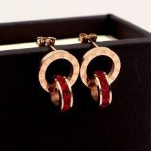 Famosa marca numerais romanos zircão parafuso prisioneiro brinco para a mulher 316l aço inoxidável moda nunca desaparecer brincos jóias