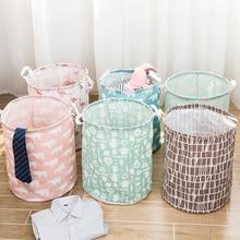 الحمام سلة الغسيل القابلة للطي صندوق تخزين مستديرة حقيبة يعوق للطي الملابس لعبة الحاويات المنظم سعة كبيرة Bsgs