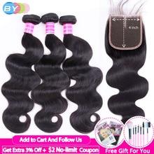 Bodywave Bundles With Closure BY Human Hair Bundles With Closure With Baby Hair 4pc/lot Lace Closure Human Hair Extension