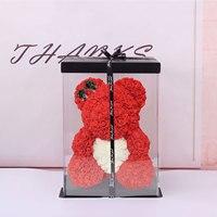 Oso rosa de peluche con caja de 25cm, Rosa Artificial de PE para novia, mujer, esposa, día de la madre, regalos de San Valentín