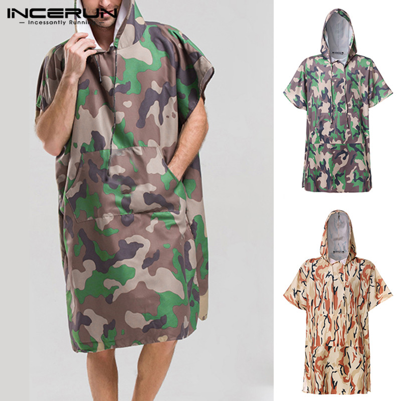 Camouflage Print Men Bathrobes Quick Dry Hooded Short Sleeve Pockets Homewear Robes Beach Breathable Ladies Bathrobe INCERUN 3XL