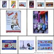 Lambretta Electrombile Metal Signs Vespa Electrocar Vintage pared arte Placa de pintura coche garaje tienda lata cartel YN109