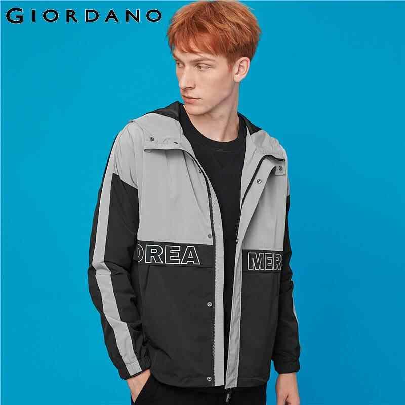 Giordano/мужские куртки с буквенным принтом и контрастной сетчатой подкладкой; куртка с капюшоном; ветрозащитная сетчатая подкладка на молнии спереди; Jaqueta Masculino 01079735
