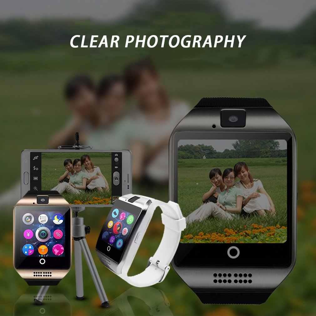 بلوتوث ساعة ذكية Q18 مع كاميرا الفيسبوك Whatsapp تويتر مزامنة SMS Smartwatch دعم سيم TF بطاقة ل IOS أندرويد
