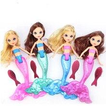 Figuras de juguete para bebés muñeca de sirena con peines chico niñas juguete baño piscina impermeable sirena muñecas Niñas juguetes regalo de cumpleaños 20cm