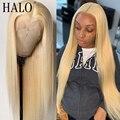 28 30 дюймов 613 блондинка 13x4 закрытие парик прозрачный Remy Синтетические волосы на кружеве человеческих волос парики для черные женские прямые...