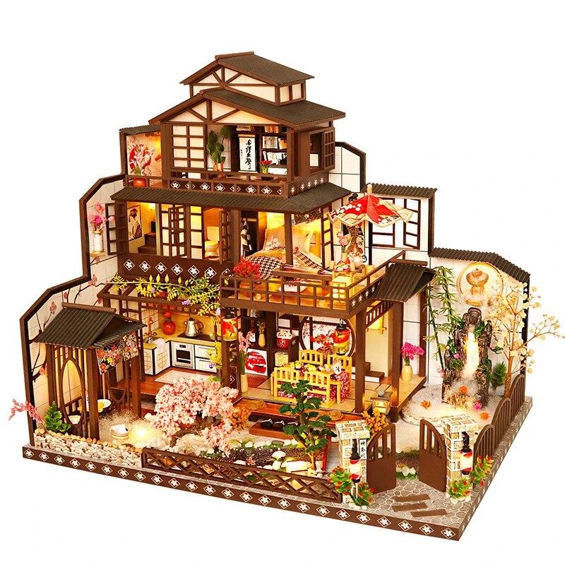 bricolage maison de poupee chinois et japonais kit de style mixte assemble miniature avec meubles casa maison de poupee jouets pour enfants cadeaux