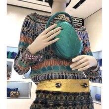 Cosmicchic piste cachemire tricoté pulls à manches longues géométrique couleur chandail concepteur de piste 2019 automne femmes haut rayé