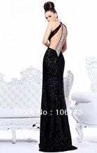 free shipping Black Halter Sequin Sheath Evening dress 2016 Rhinestone Sleeveless prom maxi debutante brides maid dresses