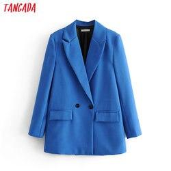 Tangada женский элегантный синий двубортный пиджак, дизайнерский офисный Женский блейзер, деловая одежда, топы DA47