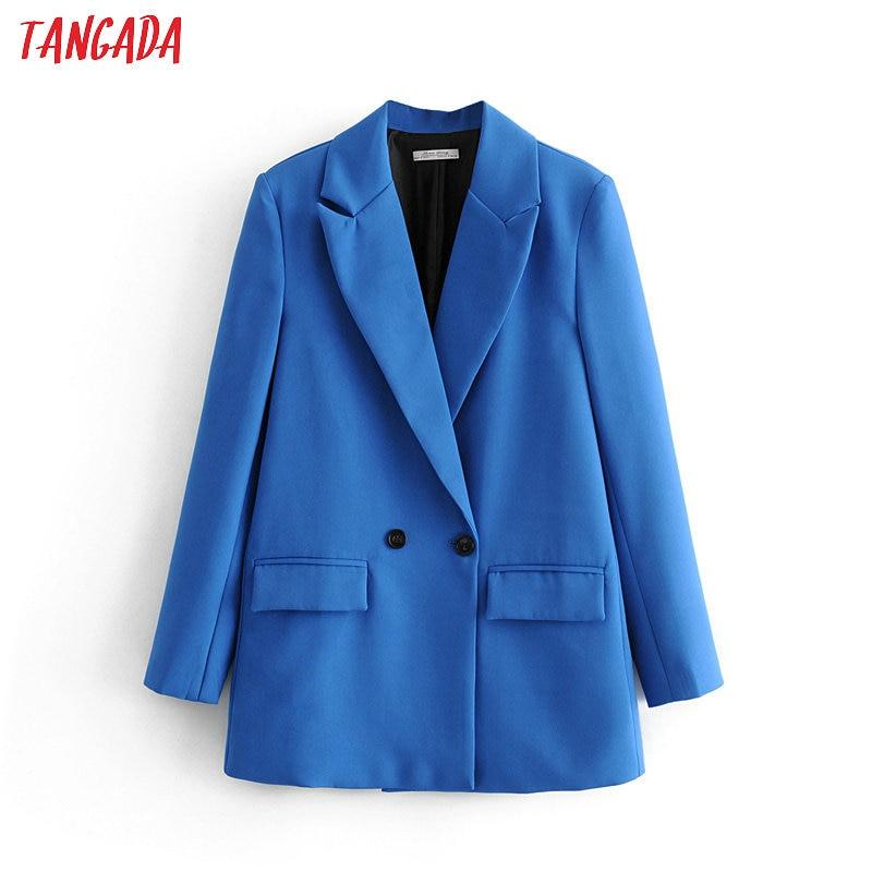 Tangada Women Elegant Blue Double Breasted Suit Jacket Designer Office Ladies Blazer Business Wear Tops DA47