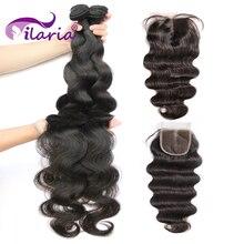 ILARIA бразильские пучки волос плетение с закрытием двойной уток тела волна человеческие волосы пучки с закрытием remy волосы для наращивания