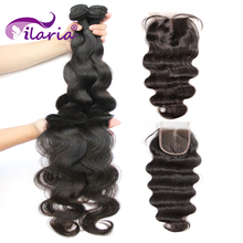 ILARIA Brazilian Hair Weave Bundles With Closure Double Weft Body Wave Human Hair Bundles With Closure Remy Hair Extensions